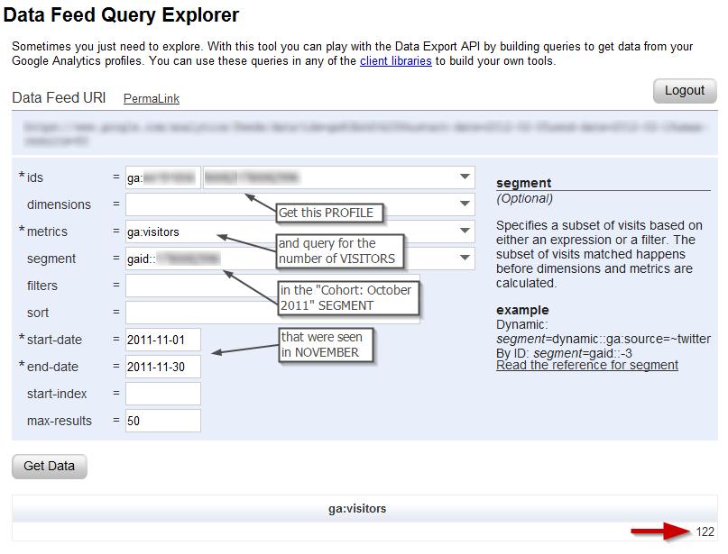 Cohort analysis using Google Analytics Data Feed Query Explorer