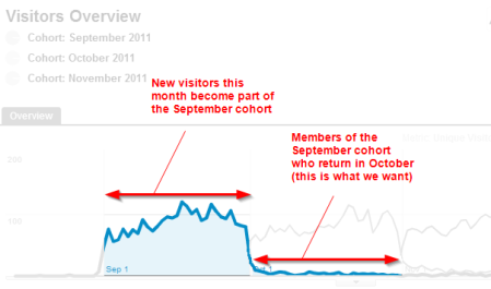 Cohort example showing one month retention in Google Analytics