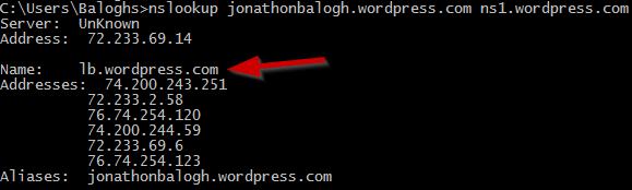 Wordpress nameservers resolving jonathonbalogh.wordpress.com