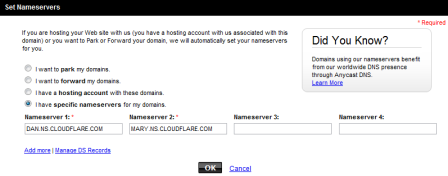 GoDaddy domain configuration using CloudFlare nameservers