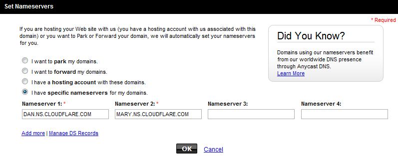GoDaddy domain configuration using CloudFlare nameservers